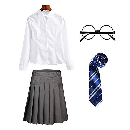 YOSICIL Conjunto de Mago con Blusa Falda Chaleco Corbata Gafas Accesorios de Disfraces para niños Conjunto de Accesorios para Adultos Corbata Rayas Corbata Carnaval Halloween
