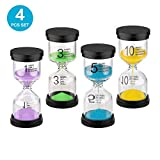 Sand Timers for Kids, Sand Clock 1/3/5/10 Minutes for kids Games Classroom, Mini Plastic Hourglass Sandglass Timer (pack of 4)