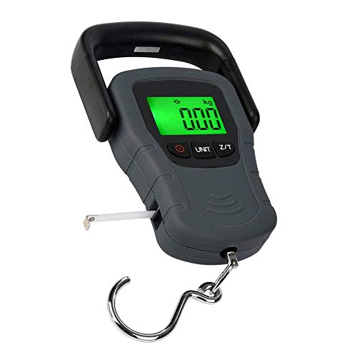 Fljen-CC [Backlit LCD Display] 110lb/50kg Electronic Balance Digital Fishing Postal Hanging Hook Scale with Measuring Tape, 3 AAA Batteries Included
