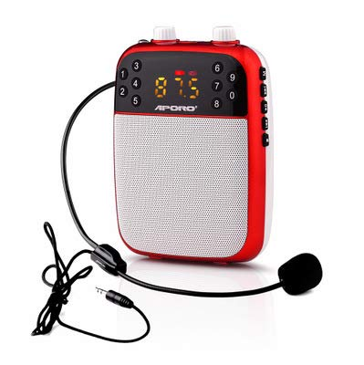 YMMONLIA Amplificador portatil con 2000 mAh batería de Litio con un microfono para guías Maestros Profesores Artistas animadores promotores de Ventas, etc