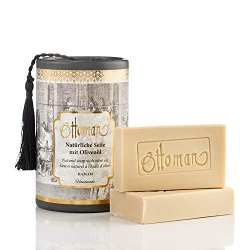 Natürliche Hamam Seife mit Olivenöl in nostalgischer Zylinderbox Handmade, Geschenkbox (2x75 gr)