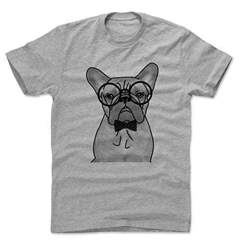 French Bulldog Cotton Shirt - Nerdy Frenchie Dog (Heather Gray, Large)