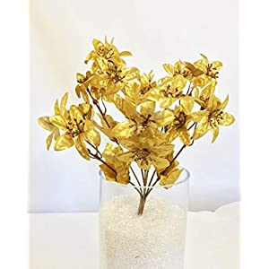 2″ Vintage Miniature Gold Poinsettias x 21 per Bush Silk Artificial Flowers Faux, for Wedding Supplies