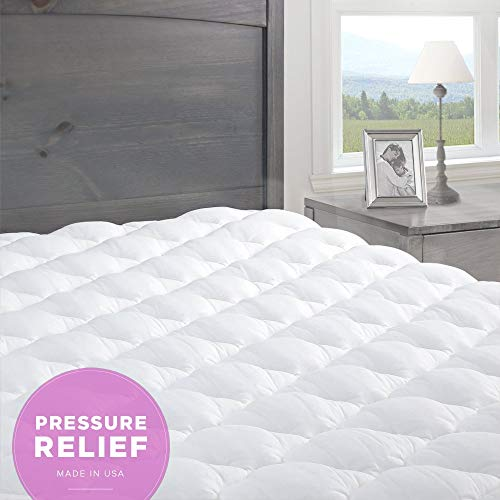 eLuxurySupply Mattress Topper Single Bed - Pressure Relief Mattress Topper with Fitted Skirt | Bedsore Prevention Mattress Pads | Hypoallergenic Mattress Topper - Single: 90 x 190 cm