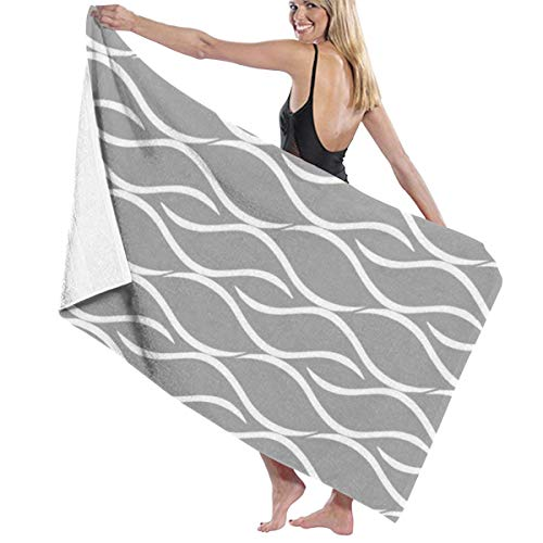 Lesif White & Gray Curvy Geometric Pattern Quick Dry Beach Towel, Travel Microfiber Super Absorbent Lightweight Towel, Bath Towels for Kids & Adults,Yoga,Swimming and Picnic(31' x 51')