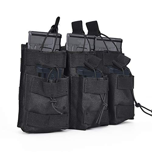 TrendGate Open-Top Mag Pouch, Triple Stacker Magazine Pouch Tactical Molle Pistol Mag Holder Mag Carrier for M4 M16 G36 HK416 Magazines –Black