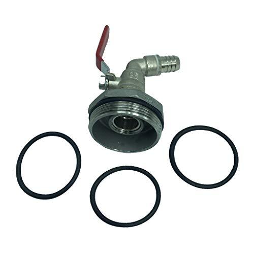 perfk Adaptador de Barril 200L / 50galones de Acero y Laton Galvanizado Rosca φ58 mm G2 '' Salida de 16mm con Boca 45 °