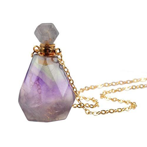 HOULAI Collar de botella de perfume con forma de botella de perfume de piedra natural, difusor de botella de aceite esencial, collar de 66 cm, cuarzo rosa, regalo orita