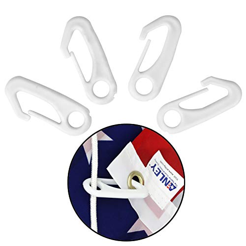 Anley 4 Stück Nylon Fahnenmastklammer Karabinerhaken, UV- und wasserabweisende Fahnenmastbefestigung - Fahne mit Seil am Fahnenmast befestigen - 4er Packung