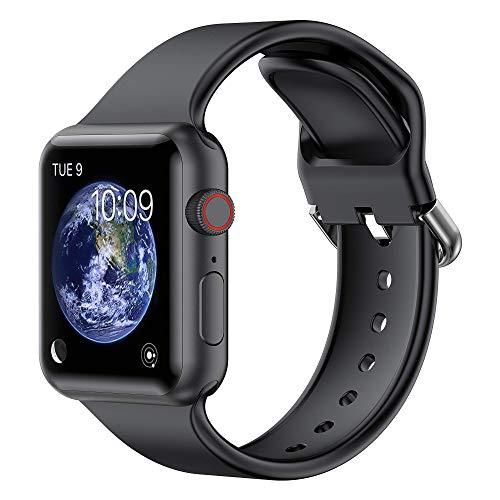 Glebo Pulseras deportivas compatibles con Apple Watch, 42 mm, 44 mm, para hombre y mujer, de silicona suave, para iWatch Series 6, 5, 4, 3, 2, 1, SE, negro/grande