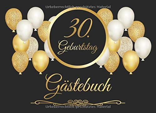 30. Geburtstag Gästebuch: Vintage Gästebuch Zum Eintragen und zum Ausfüllen für Glückwünsche...