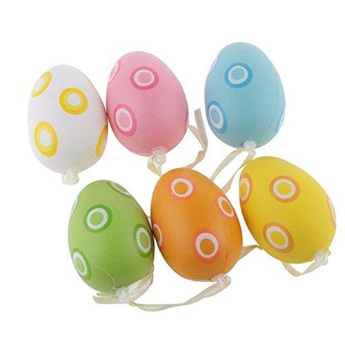 TRIXES 6 PZ Uova di Pasqua a Pois - Colori Assortiti da Appendere, Nastro Decorativo, Grazioso Ninnolo Stagionale da Appendere