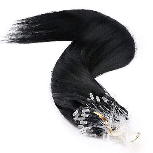 Extension Cheveux Naturel a Froid Micro Loop - Rajout Cheveux Humain Anneaux (#01 Noir foncé, 24\