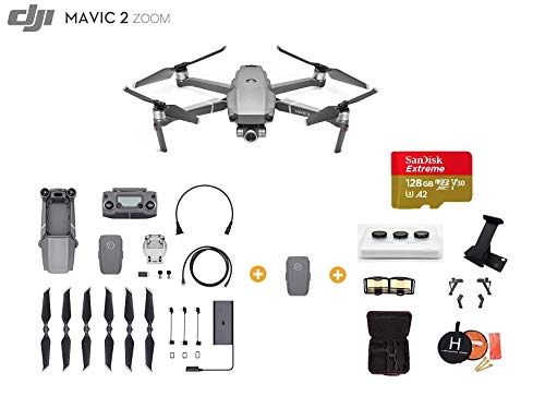 DJI Mavic 2 Zoom Drone Quadcopter with Extra Battery, Ultimate Bundle, with 64GB SD Card, Filter Set, Landing Pad, Landing Gear and Tablet Holder