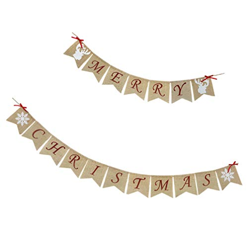 TOYANDONA Merry Christmas Banner Holiday Party Banners Hanging Buntings Garland Hanging Decorations Photo Props for Christmas Party Fireplace Mantle Decorations