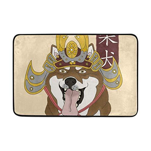 EU Doormat Samurai Shiba Dog Bath Rugs- Non Slip Entrance Rug Welcome Door Mats, 23.6x15.7