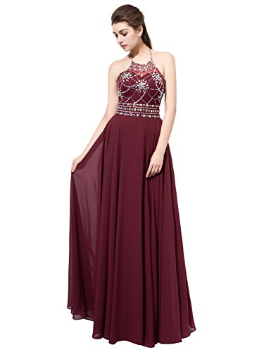 Sarahbridal Womens Halter Chiffon Prom Evening Dresses Long 2020 Backless Bridesmaid Gowns Maroon US8 (Apparel)