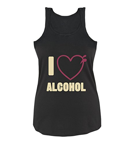 Comedy Shirts - I Love Alcohol - Herz - Damen Tank Top - Schwarz/Beige-Fuchsia Gr. M