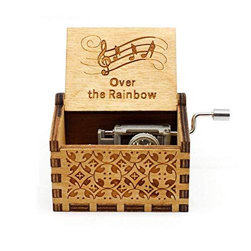 Teepao, carillon a manovella in legno, stile antico, meccanismo in stile rétro, antico, intagliato a mano, per bambini, amici Sopra l'Arcobaleno