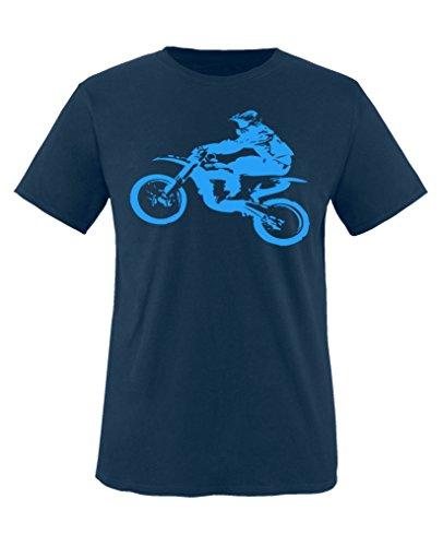 Comedy Shirts - Motorcross Motorrad - Jungen T-Shirt - Navy/Blau Gr. 110-116