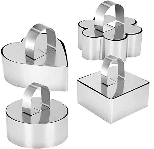 Defemim Stainless Steel 3D Cake Molds with Pusher Lifter Cooking Rings Set of 4,Baking Dish Bakeware Tools Cupcake Mold Mousse Ring Cheese Tools Salad Cake Dessert Mould(4 Different Shapes)