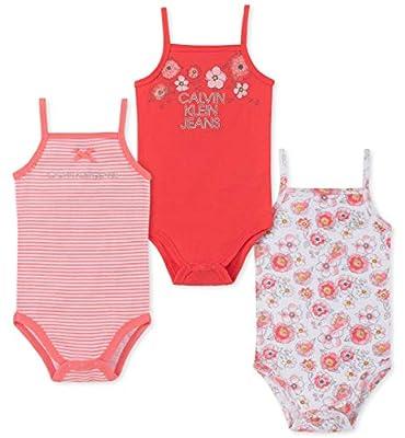 Calvin Klein Baby Girls 3 Pieces Pack Bodysuits, Coral/Papaya/Print, 3-6 Months
