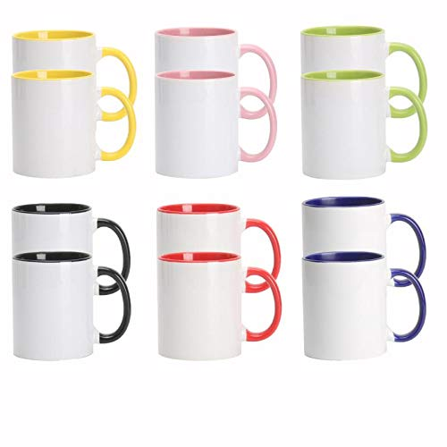 11oz White Ceramic Sublimation Coffee Mug With Solid Colors Inside and Handle, Mixed 6 colors of Black, Red, Blue, Yellow, Green and Pink, Case of 12