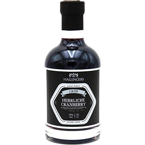Hallingers Premium Preiselbeer-Likör (350ml) - Herrlicher Cranberry 18% vol. (Exklusivflasche) - zu Passt immer Für Sie