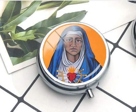 Collar con colgante de la Virgen de los Dolores de María, caja de pastillas/pastillero