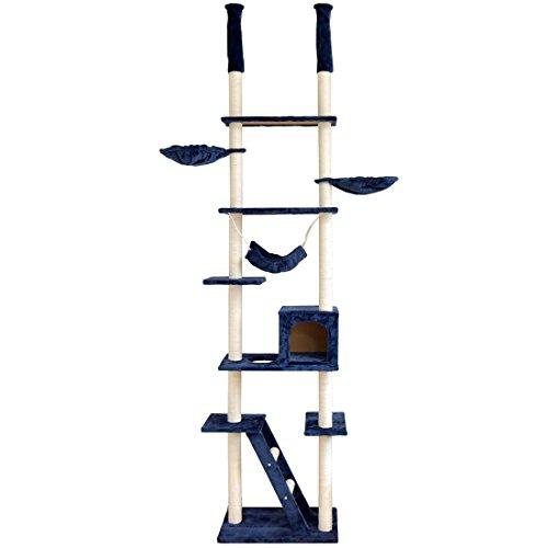 タンスのゲンキャットタワー突っ張りタイプ幅60×奥行40.5×高さ230~253cm【バスケット/ハンモック/爪とぎ/ベッド】全面麻紐ネイビー32000003NV【60812】