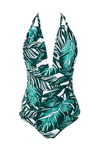 CUPSHE Women's Keep Secrets Halter One-Piece Swimsuit Beach Swimwear, M Blue