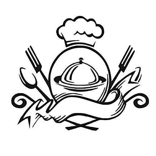 XCSJX Kreative Küche Geschirr Besteck Muster Art Deco Wandaufkleber 45x58cm