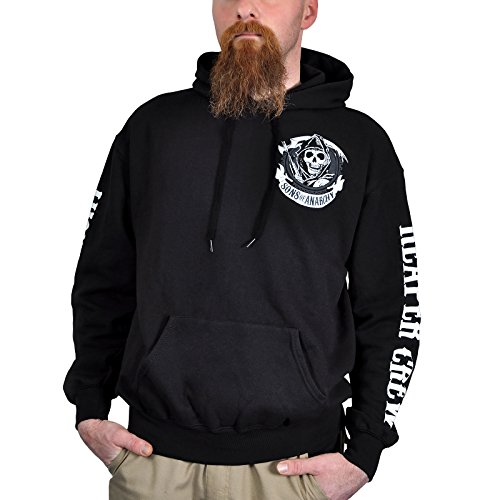 Sons of Anarchy American Outlaw Kapuzen Pullover Totenkopf Hoodie mit Logoprints lizenziert zur Serie - M