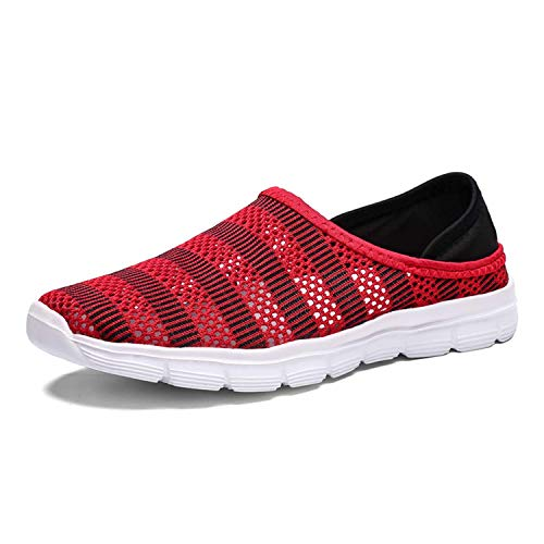 Men's Mesh Shoes Slip on Socks Walking Sports Shoes Lightweight Barefoot Quick-Dry Aqua Yoga Water Shoes Loafers All-Purpose Amphibious Breathable Beach Pool Sneakers Red 45