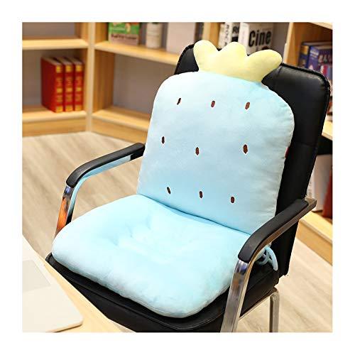 LHQ-HQ Cojín de Asiento de Dibujos Animados con Respaldo, Almohadillas de Felpa Siameses para Silla, cojín para Silla de Oficina, cojín para sofá, decoración del hogar,Azul