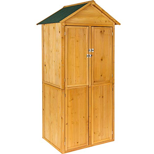 TecTake 402210 Holz Gartenschrank Geräteschuppen Satteldach | ca. 80,5 x 60 x 213,5 cm (BxTxH)