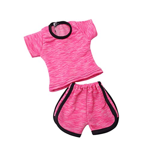 P Prettyia 2-teilig Modische Puppen Sport Kleidung T-Shirt & Shorts Hose Set Für 18 ''amerikanisches Mädchen Puppe - Rosa
