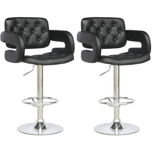 CorLiving DAB-909-B Tufted Adjustable Bar Stool with Armrests in Black Leatherette, Set of 2