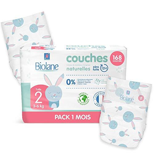 Biolane - Couches Éco-Responsables Taille 2 (3 - 6 Kg) - Zéro Fuite pendant 12h - Pack 1 Mois 168 Couches