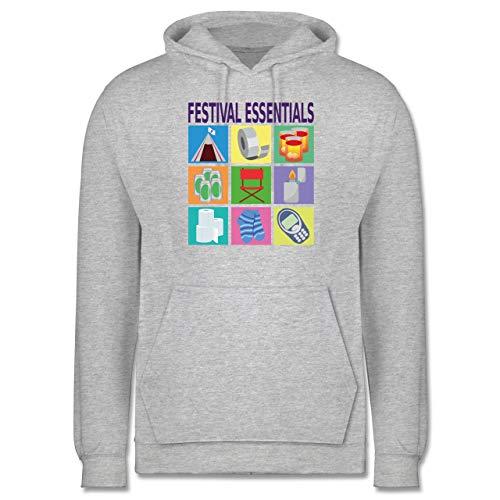Shirtracer Statement - Festival Essentials Basics - XL - Grau meliert - Bunt - JH001 - Herren Hoodie und Kapuzenpullover für Männer