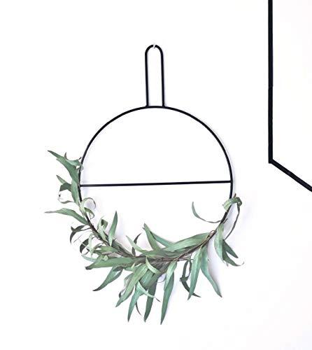 anaan Circle Design Wandkranz Metall Ring Eukalyptuskranz Kranz Handtuchhalter & Zeitschriftenhalter schwarz Wanddeko Türdeko (S Φ30*40cm)