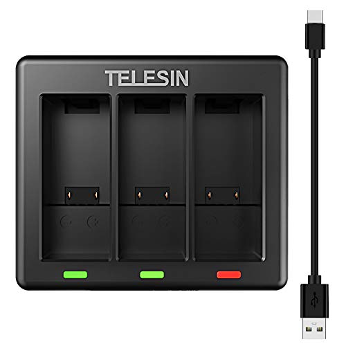 TELESIN Cargador USB de 3 canales para GoPro Hero 9 negro con cable cargador tipo C totalmente compatible con baterías originales Go Pro 9