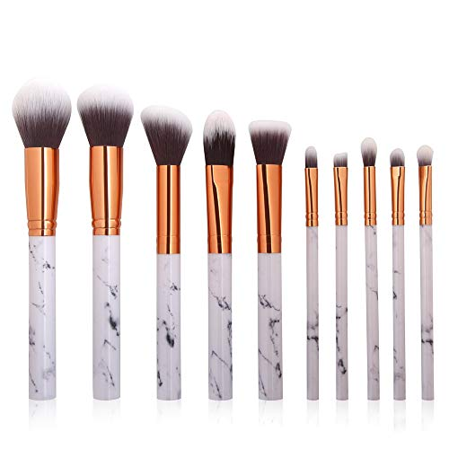 Pinceau de Maquillage 10 pinceaux de Maquillage marbrés Ensembles pinceaux de Maquillage en marbre Professionnels avec Pinceau Blush Foundation surligneur