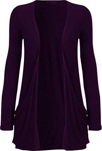 Ladies Women Boyfriend Open Cardigan with Pockets Purple
