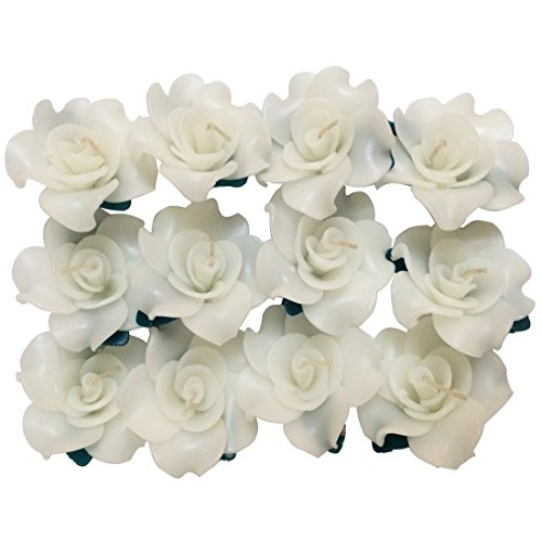 Wedding&spa Scented Rose-shaped Floating Candles(pack of 12),white