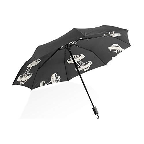 Umbrella Girls Fitness Ejercicio con Mancuernas Portátil Compacto Plegable Paraguas Anti UV Protección a Prueba de Viento Viajes al Aire Libre Mujeres Niñas a Prueba de Viento Umbrella