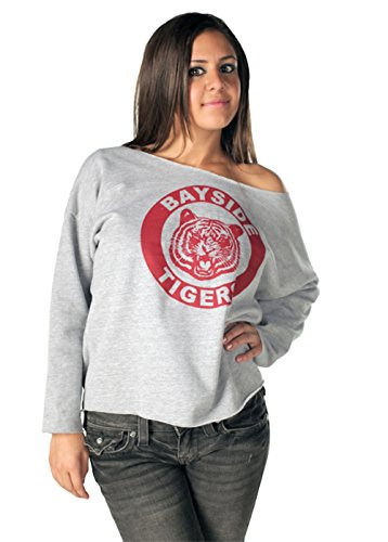 Saved By The Bell Kelly Kapowski Bayside Off The Shoulder Gray Juniors/Ladies Sweatshirt, S to XXL