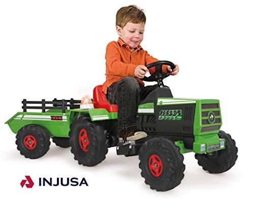 INJUSA Tractor Basic con Remolque con Luces Y Sonidos, Color Verde, 3+ (615009)