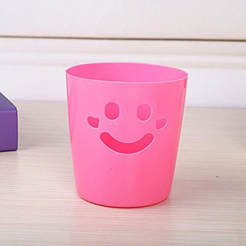 Sinzong Papierkörbe Hohl Smiley Gesichtsausdruck Desktop-Speicher Eimer Lächeln Mini Trümmer Mülleimer-Pink