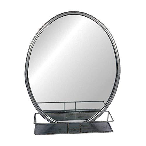 L'Héritier Du Temps Miroir Mural de Forme Ovale Glace avec Etagère de Rangement Trumeau en Fer Patiné Gris Alu 12x40,5x50cm
